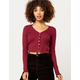 SKY AND SPARROW Solid Pointelle Burgundy Womens Knit Top