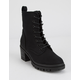 WILD DIVA Canvas Lace Up Lug Sole Black Womens Boots