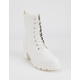 WILD DIVA Canvas Lace Up Lug Sole White Womens Boots
