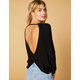 WEST OF MELROSE Options Open Back Black Womens Thermal Top