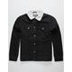 BROOKLYN CLOTH Sherpa Black Mens Denim Trucker Jacket
