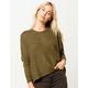POOF Drop Shoulder Crop Olive Womens Sweater