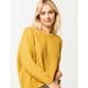 POOF Drop Shoulder Crop Mustard Womens Sweater