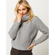 IVY & MAIN Shaker Knit Turtleneck Heather Gray Womens Sweater