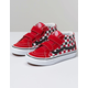 VANS Checkerboard Sk8-Mid Reissue V Black & Racing Red Boys Velcro Shoes