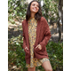 WOVEN HEART Chenille Cable Cognac Womens Cardigan