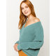 FULL TILT Essentials V-Neck Dolman Teal Blue Womens Crop Sweater