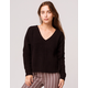 FULL TILT Essentials V-Neck Dolman Black Womens Crop Sweater
