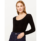 FULL TILT Essentials Brushed Ribbed Black Womens Top