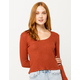 FULL TILT Essentials Brushed Ribbed Rust Womens Top