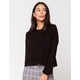 SKY AND SPARROW Ribbed Balloon Sleeves Black Womens Sweater