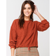 SKY AND SPARROW Woobie Cinch Tie Rust Womens Sweater