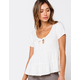 IVY & MAIN Solid Tier Womens Babydoll Top