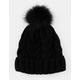 AQUARIUS Cable Knit Faux Fur Pom Black Womens Beanie
