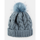 AQUARIUS Cable Knit Faux Fur Pom Dusty Blue Womens Beanie