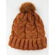 AQUARIUS Cable Knit Faux Fur Pom Rust Womens Beanie