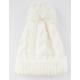 AQUARIUS Cable Knit Self Pom Ivory Womens Beanie