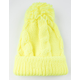 AQUARIUS Cable Knit Self Pom Yellow Womens Beanie