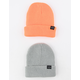 BLUE CROWN 2 Pack Gray & Orange Mens Beanies