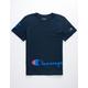 CHAMPION Wrap Around Script Navy Boys T-Shirt