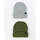 BLUE CROWN 2 Pack Gray & Green Mens Beanies