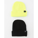 BLUE CROWN 2 Pack Yellow & Black Mens Beanies