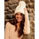 Oversized Knit Ivory Womens Pom Beanie