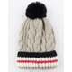 Cable Striped Cuff Womens Pom Beanie