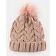 AQUARIUS Cable Knit Faux Fur Pom Blush Womens Beanie