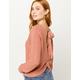IVY & MAIN Open Twist Back Rose Womens Sweater