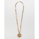 BLUE CROWN Chain Circle Pendant Necklace