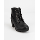 SODA Lace Up Black Girls Leather Boot