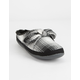 TOMS Plaid Bow Black Womens Mule Slippers