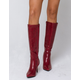 DELICIOUS Crocodile Knee High Red Womens Boots