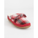 TOMS Plaid Bow Red Womens Mule Slippers