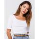 BOZZOLO Three-Quarter Sleeve White Womens Crop Tee