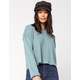 SKY AND SPARROW Ribbed Balloon Sleeve Mint Womens Sweater
