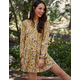 GOOD LUCK GEM Mock Neck Tier Yellow Womens Dress