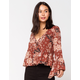 IVY & MAIN Button Front Rust Womens Babydoll Top