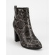 DELICIOUS Snake Womens Heeled Boots
