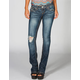 ALMOST FAMOUS Destructed Knee Womens Bootcut Jeans
