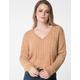 RSQ V-Neck Chenille Tan Womens Sweater