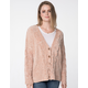 RSQ V-Neck Chenille Blush Womens Cardigan