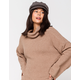SKY AND SPARROW Fuzzy Cowl Taupe Womens Bell Sleeve Sweater