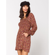 MIMI CHICA Smocked Burgundy Fit N Flare Dress