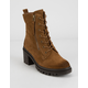 WILD DIVA Suede Lace Up Lug Camel Womens Boots