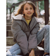 WHITE FAWN Gingham Girls Hooded Puffer Jacket
