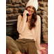 RETROD V-Neck Peach Womens Crop Sweater