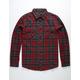 BRIXTON Bowery Burgundy Mens Flannel Shirt