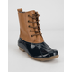 WILD DIVA Shearling Lace Up Tan & Navy Womens Weather Boots
